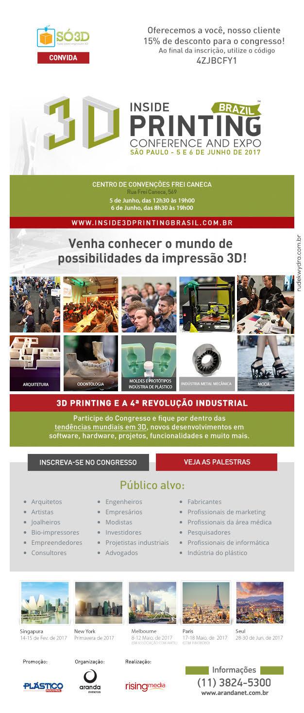 Ingressos a venda para a feira Inside 3D Printing Brasil<